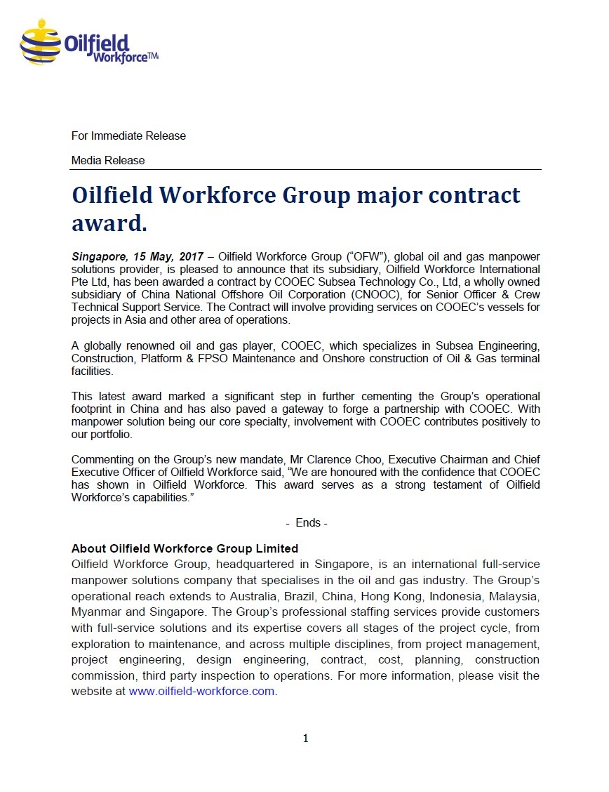 Oilfield Workforce Group Signed Major Contract with Aramco